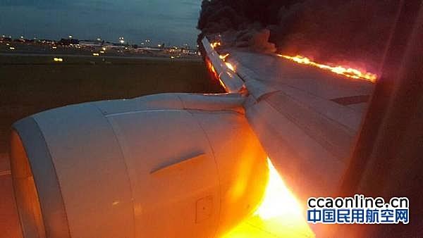 新加坡航空一架B777发动机突然起火,无人员伤亡