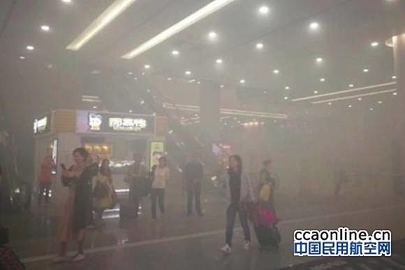 浦东机场T2电瓶车自燃烟雾笼罩,机场运行未受影响